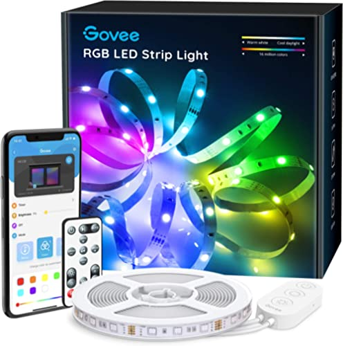 Govee 16.4ft Color Changing LED Strip Lights, Bluetooth LED Lights with App Control, Remote, Control Box, 64 Scenes a...
