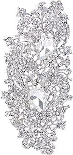 EVER FAITH Austrian Crystal 4.1 Inch Royal Flower Pattern Wedding Brooch Clear