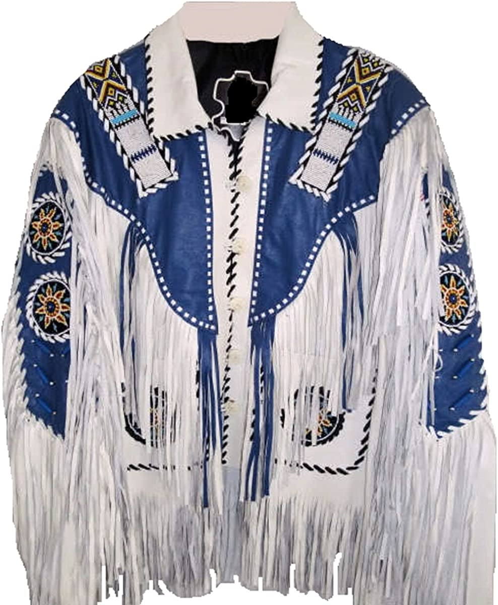 Bestzo Mens Western Cow Leather Jacket with Fringes and Beads White XS-5XL