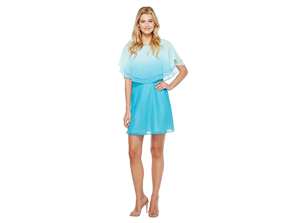 Tahari by ASL Ombre Popover Dress (Capri/Turquoise) Women