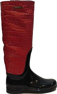 [ドルチェ&ガッバーナ] イタリアWoman 'sレッドクロコダイルレザー長靴ゴムレインブーツブーツAA