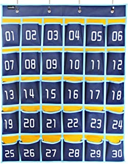Misslo Numbered Classroom Pocket Chart for Cell Phones and Calculator Holder Hanging Wall Door Organizer (30 Pockets, Blue Pockets)
