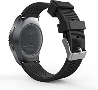 MoKo Gear S2 Classic Correa del Reloj, Reemplazo Silicona Deportiva WatchBand para Garmin Vivoactive 3/Samsung Galaxy Watch 42mm/Galaxy Watch Active/Gear S2 Classic SM-R732/R735/Ticwatch 2, Negro