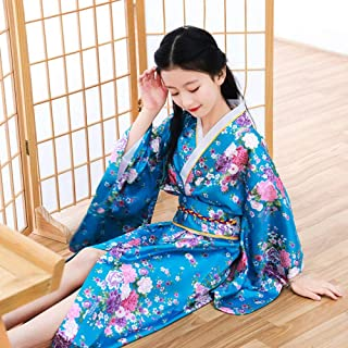 Oriental Asian Kids Girls Japanese Kimono Dress Traditional Costumes Haori Yukata Peacock Luxury Satin Robe Sleepwear Pajamas CQQO (Color : Color7, Size : 5th)