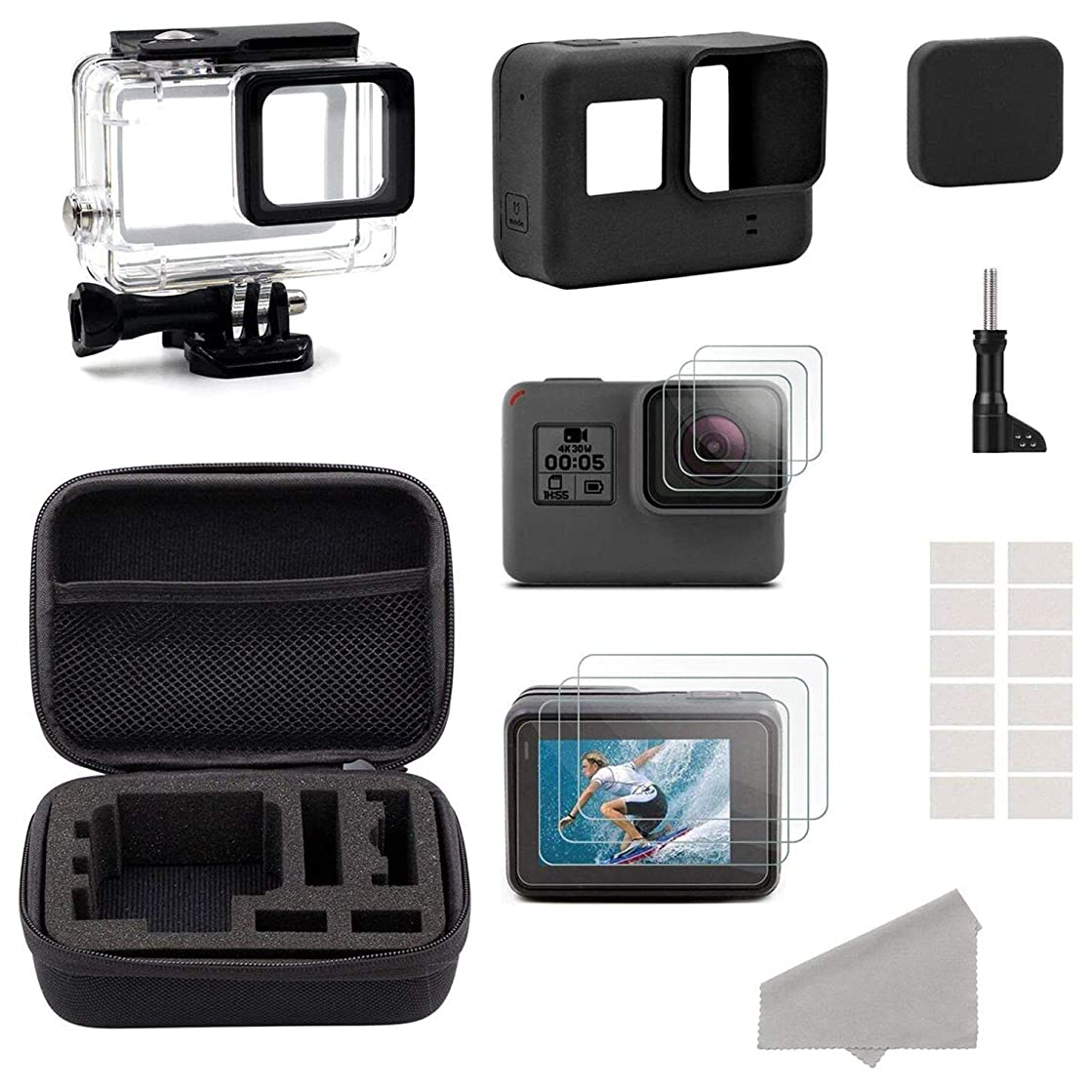 Semoic Accessories for GoPro Hero HD (2018) /6/5 Black Starter Kit Travel Case Small + Housing Case + Screen Protector + Lens Cover + Silicone Protective Case