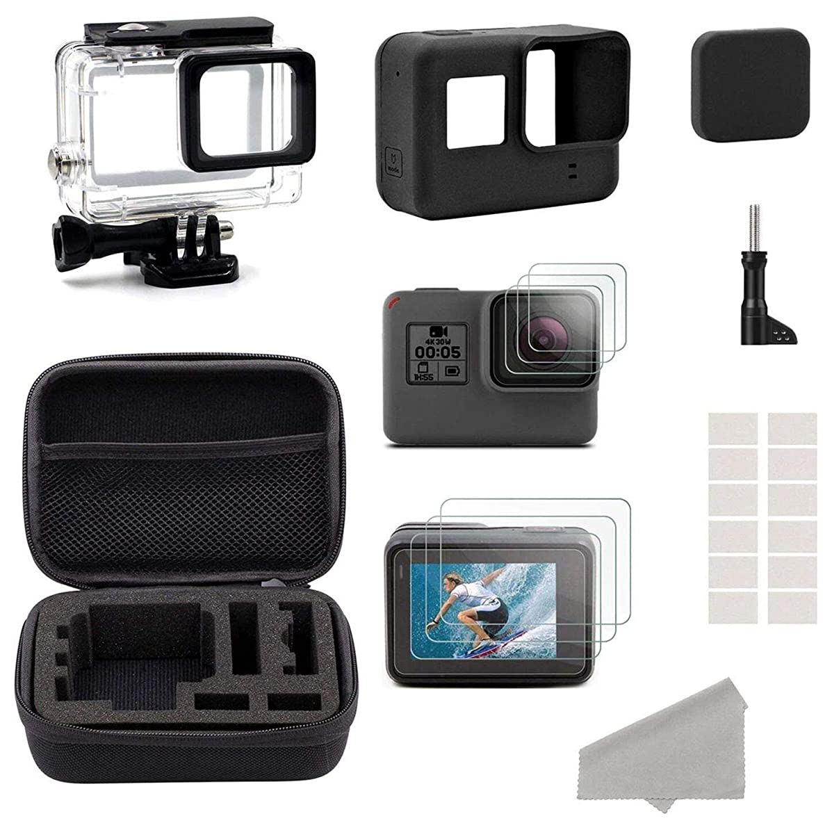 SODIAL Accessories for GoPro Hero HD (2018) /6/5 Black Starter Kit Travel Ca Small + Housing Ca + Screen Protector + Lens Cover + Silicone Protective Ca