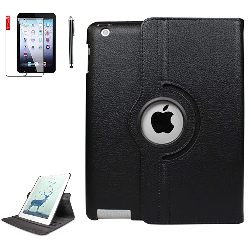iPad Case 6th Generation with Bonus Screen Protector and Stylus - iPad 9.7 inch Air1 2018 2017 Case Cover - 360 Degree Rotating Stand, Auto Sleep Wake - A1822 A1823 (Deep Black)