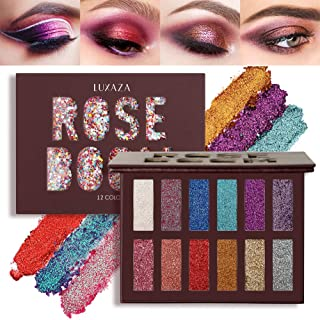 LUXAZA Glitter Eyeshadow Palette Shimmer High Pigmented Eyeshadow Powder 12 Colors Professional Makeup Long Lasting Waterp...