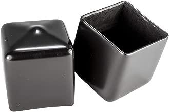 Prescott Plastics 1 Inch Square Black Vinyl End Cap, Flexible Pipe Post Rubber Cover ((A) Pack of 10 Caps)