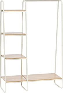 IRIS Metal Garment Rack with Wood Shelves, White and Light Brown (Renewed)