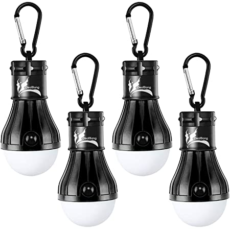 DealBang Compact LED Camping Light Bulbs with Clip Hook,150 Lumens LED Portable Hanging Battery Powered Tent Lights for Camping, Hiking, Backpacking, Fishing, Hurricane,Emergency, Outage