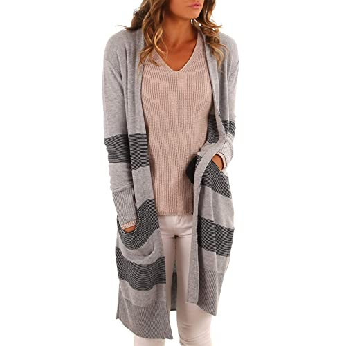 f22d91501e Blooming Jelly Women s Grey Striped Open Front Knit Long Cardigan for Women  Ribbed Sleeve Sweater Coat