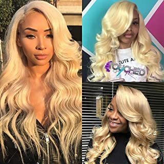 613 Blonde Lace Front Wigs Human Hair Body Wave Glueless Full Lace Human Hair Wigs for Women Wavy With Baby Hair (12inch, Lace Front Wig)
