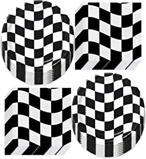 Race Party Supplies Black and White Checkered Paper Dinner Plates and Luncheon Napkins (Serves 16)