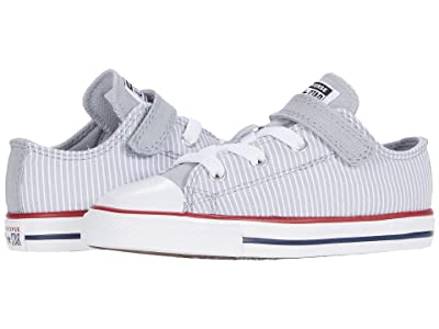 Converse Kids Chuck Taylor(r) All Star(r) 1V Pinstripe (Infant/Toddler) (Wolf Grey/Garnet/White) Kid