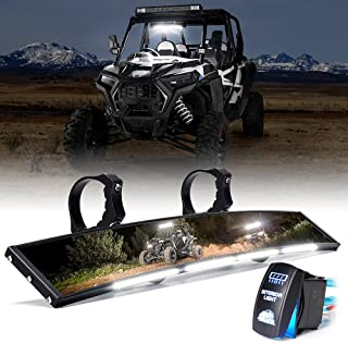 Xprite 17.5' UTV Rear View Center Mirror w/ Interior Lights and Rocker Switch, Aluminum Curved Rearview Mirrors fits 1.75'-2' Mount for Polaris RZR Can-Am X3 Kawasaki Yamaha, Patent Design