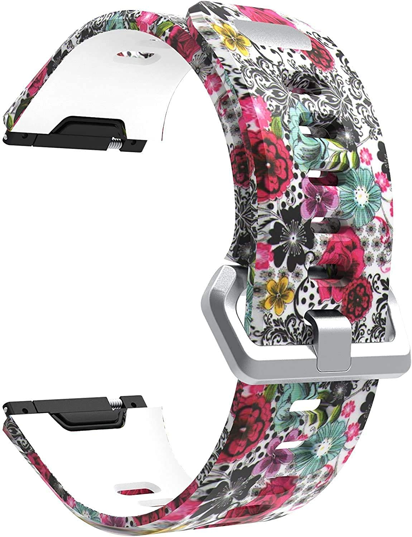 Abasic Bracelet Montre Silicone Compatible avec Fitbit Ionic, Replacement Bande Bracelet Chaîne de Montre avec Fermoir en Métal Réglable Pattern 3