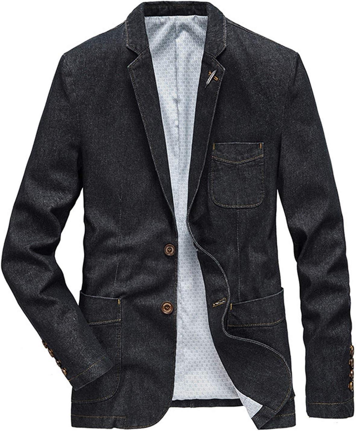 Jacket Denim Jacket Men Suits Collar Business Coat Male Spring Autumn Suit Blazer Men's Jean Jackets (Color : Black, Size : XL)