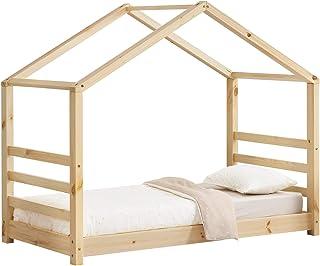 [en.casa] Lit d'enfant Design Maison Lit Cabane Pin Contreplaqué Solide Bon Marché Couleur Bois Naturel 146x78x130cm