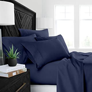 "4PCs Sheet set 400 Thread count 100% Cotton Sheet Navy Blue Solid Twin Sheets Long Staple Cotton Fits Mattress Upto 15"" De..."