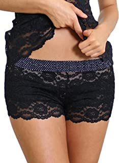 Original Lace Boxer Brief Underwear for Women Sexy Sheer Lace Boy Shorts   XS-XXL