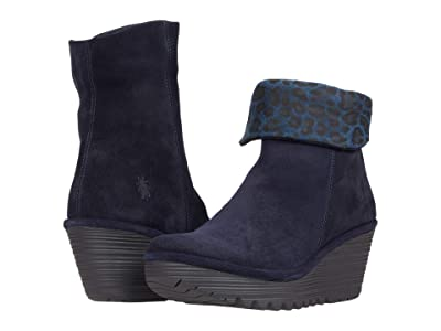 FLY LONDON YETY248FLY (Navy Oil Suede/Cheetah Print) Women