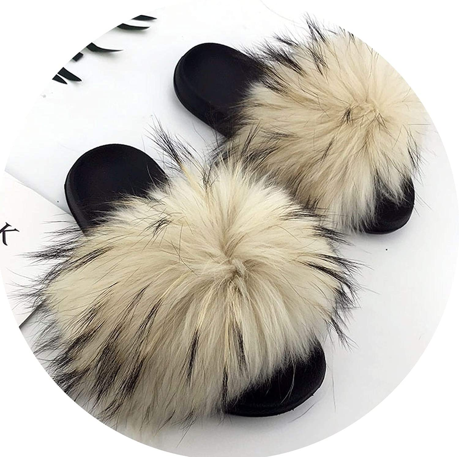 Ferdinanding 2019 Big Full Fur Slippers Real Fox Hair Slides Beach Slides Holiday Fox Fur Slides for Women,See, 10