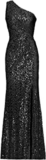 Bridesmaid Dress Evening Party Gown Sequins One Shoulder Side Split Long Sparkly