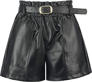 Women's Casual Faux Leather Shorts High Waisted Elastic...