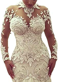 c37f35fb02cc Thrsaeyi Women's Modern Long Sleeves Mermaid Wedding Dress Mermaid Lace  Wedding Gowns for Bride Plus Size