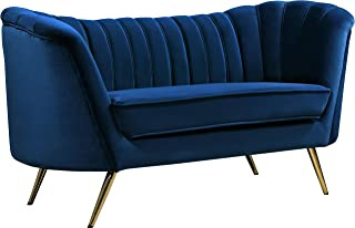 Meridian Furniture Margo Collection Modern | Contemporary Navy Velvet Upholstered Loveseat with Rich Gold Stainless Steel Base, 65