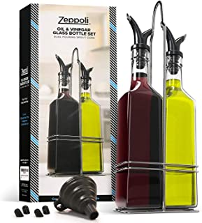 Zeppoli Oil and Vinegar Bottle Set with Stainless Steel Rack and Removable Cork – Dual..