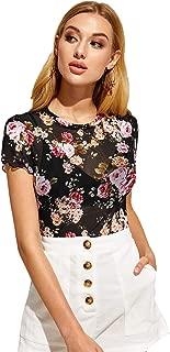 SweatyRocks Women's Short Sleeve Mock Neck Print Sheer Mesh Crop Top T Shirt