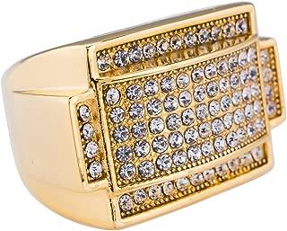 NIV'S BLING - 18K White Gold/Gold-Plated Iced Rectangular Pinky Ring - Stainless Steel