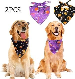 Acronde Halloween Dog Bandanas Triangle Bibs Pet Collar Pumpkin Cat Pet Scarf for Halloween Decor Washable Dog Large or Small