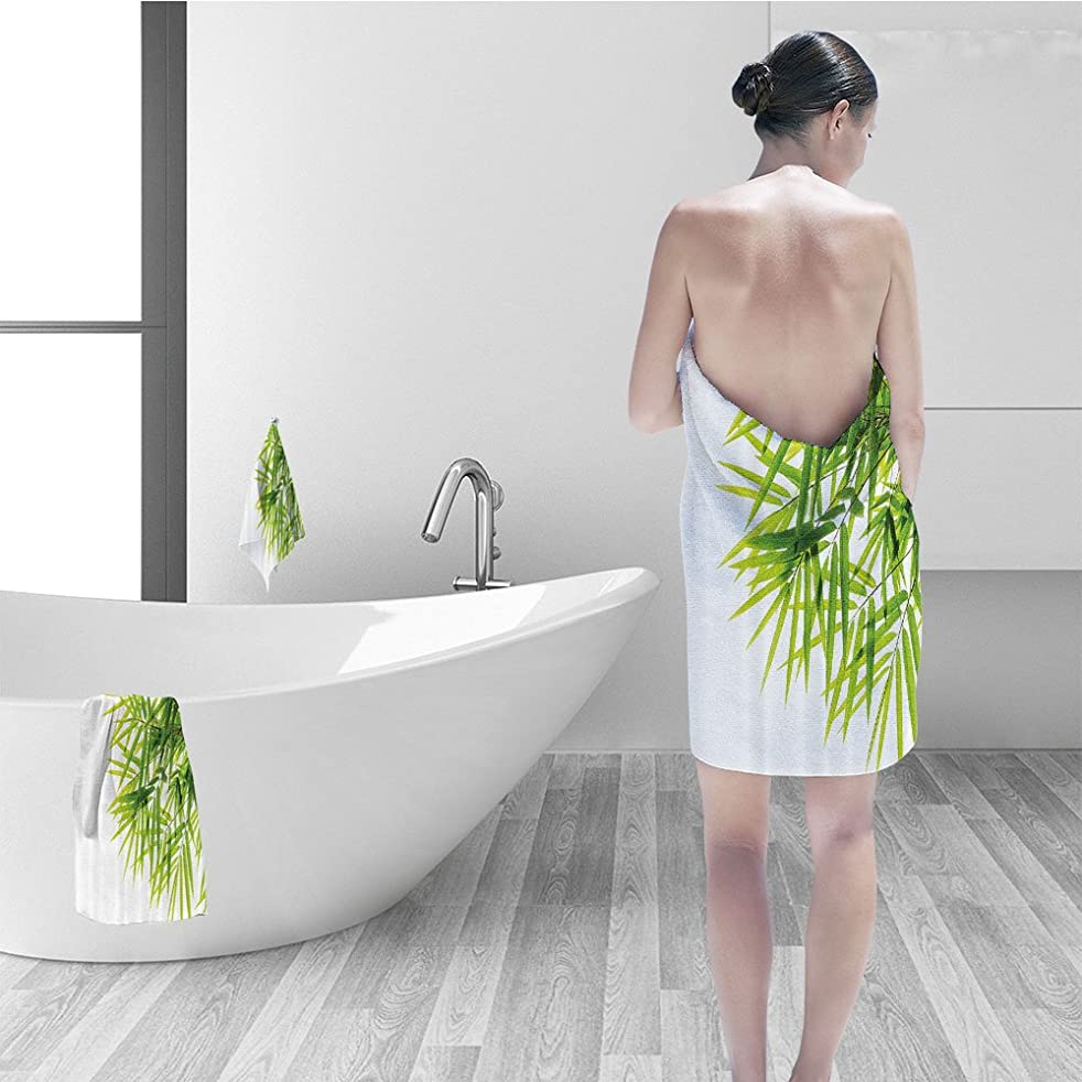 Bath towel set Bamboo House Decor Bamboo Leaf Illustration Icon for Wellbeing Health Fresh Purity Tranquil Art Print Bathroom Accessories Green White