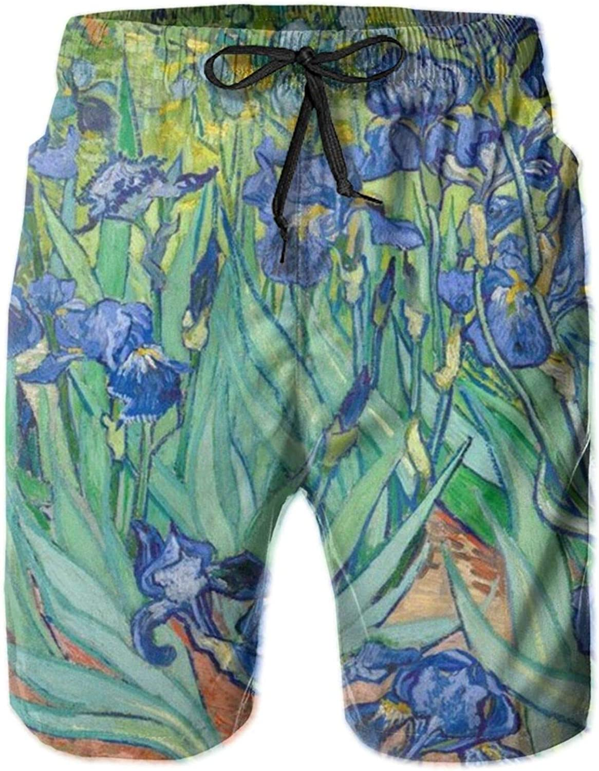 Yt92Pl@00 Men's 100% Max 80% OFF Polyester free Oil Painting Flowers Irises Beach