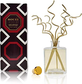 HOUZZ Interior Reed Diffuser Sticks Moon Flower Room Fragrance – Night-Blooming Jasmine & White Woods – Made with Natural Essential Oils – No Sulfates or Parabens – Made in The USA