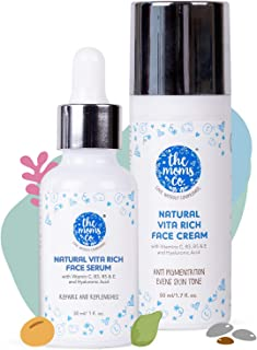 The Moms Co. Natural Vitamin C Face Cream (50 ml) & Face Serum (30 ml) for Brightening, Repair & Replenish with Vitamins C, B3, B5 & E and Hyaluronic Acid