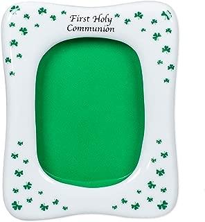 First Communion White Porcelain Irish Shamrocks Picture Frame