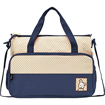 SoHo Diaper Bag 8 pcs Set Nappy Tote Bag for Baby mom dad Stylish Insulated Unisex Multifunction Waterproof Large Capacity Durable Includes Changing pad Stroller Straps Bottle case Dark Navy