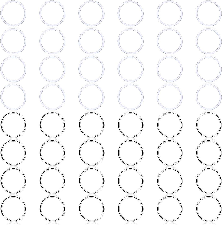 SCERRING Clear Nose Hoop Ring Retainer Bioflex Stainless Steel Lip Etarring Tragus Hoop Ring Retainer Piercing Jewelry 22G 48PCS