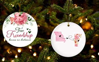 FamilyGift True Friendship Knows No Distance from Missouri Vermont - A Pairs of Ornaments Floral Christmas and States Long Distance Relationship Gift Ideas Christmas Tree Decoration