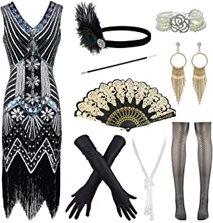 FUNDAISY 1920s V Neck Fringed Great Gatsby Flapper Dress for Prom W/Accessories Set