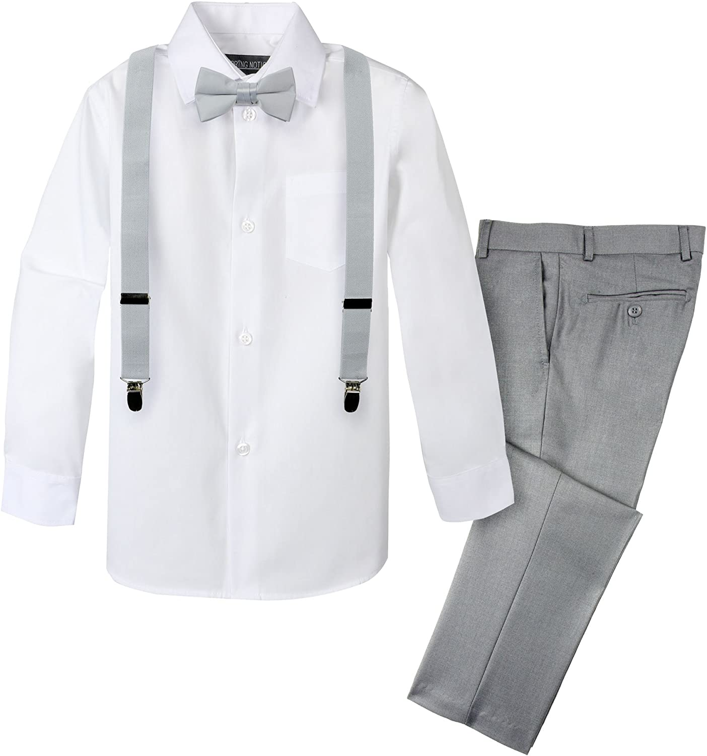 Spring Notion Boys' 4-Piece Suspender Outfit, Customizable Option Available