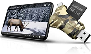 Trail Camera Viewer SD Card Reader - 4 in 1 SD and Micro SD Memory Card Reader to View Hunting Game Camera Photos or Videos on Smartphone, Camouflage