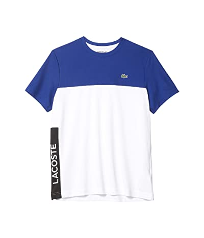 Lacoste Short Sleeve Performance Color-Block Tee (Cosmic/White/Black) Men