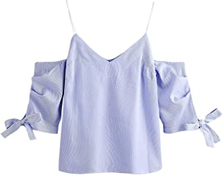 Milumia Women Spaghetti Strap Cold Shoulder Bow Tie Short Sleeve Stripe Blouse Top