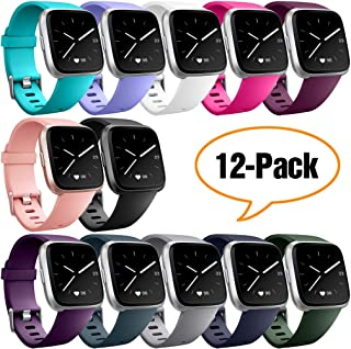 Hamile Bands Compatible for Fitbit Versa/Versa 2/Lite/SE, (12 Pack) Classic Soft Watch Bands for Fitbit Versa and Fitbit Versa & Lite & Special Edition Smartwatch, for Women Men
