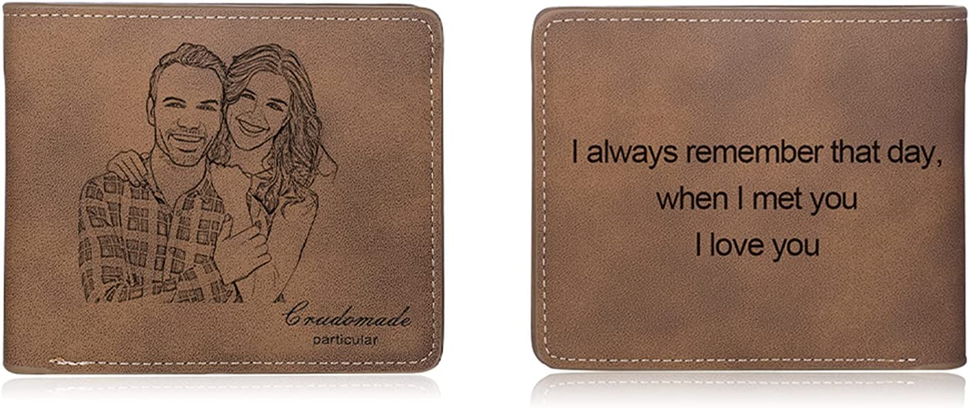 SimpleQ Personalized Wallets for Men Custom Engraved Photo Wallet Casual Bifold Wallet Customized Gifts for Fathers Day,Birthday,Christmas